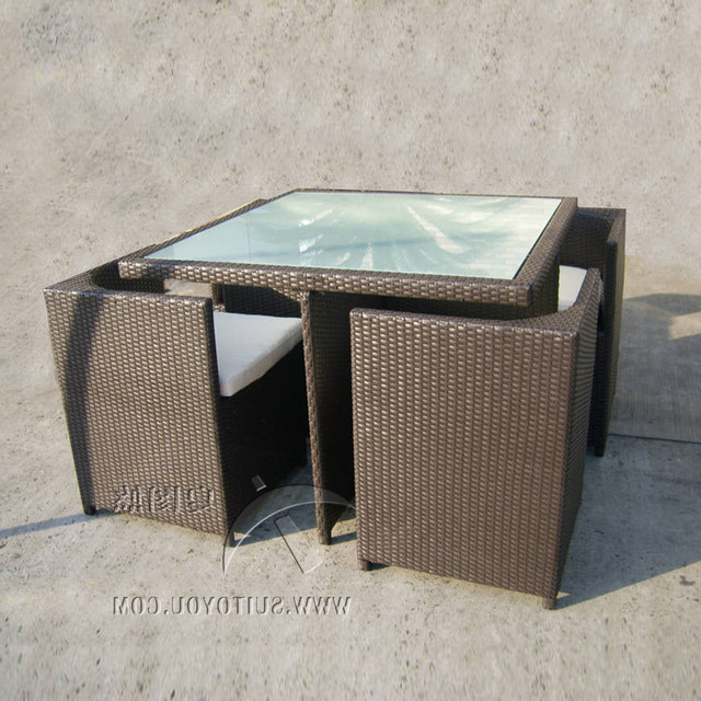 Online Shop 5 Pcs All Weather Plastic Rattan Garden Dining Sets With Intended For Current Dining Sets (View 15 of 20)