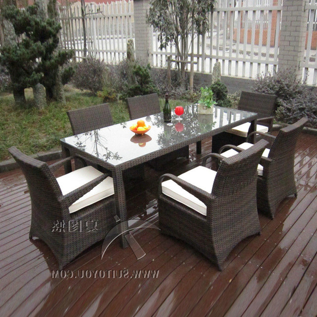 Online Shop 7 Pcs Rattan Garden Dining Sets , Washable Resin Wicker Throughout Favorite Garden Dining Tables (View 15 of 20)