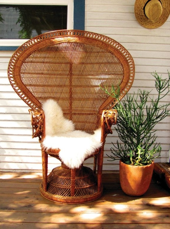 Original Iconic 1970's Wicker Peacock Chairbungalowtwelveshop In Fashionable Garten Onyx Chairs With Greywash Finish Set Of  (View 18 of 20)