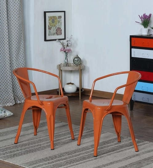 Orion Side Chairs Intended For Preferred Buy Orion Metal Chair (Set Of 2) In Burnt Orange Colourbohemiana (View 7 of 20)