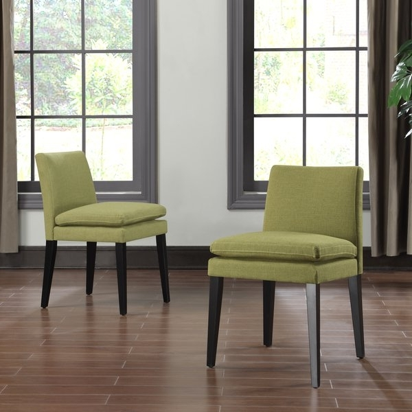 Orion Side Chairs Throughout Well Liked Shop Handy Living Orion Apple Green Linen Upholstered Dining Chairs (View 11 of 20)