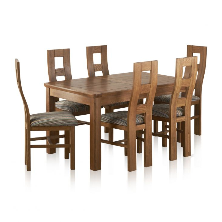 Orrick Extending Dining Set In Rustic Oak: Table + 6 Beige Chairs Throughout Favorite Extending Dining Tables And 6 Chairs (View 15 of 20)