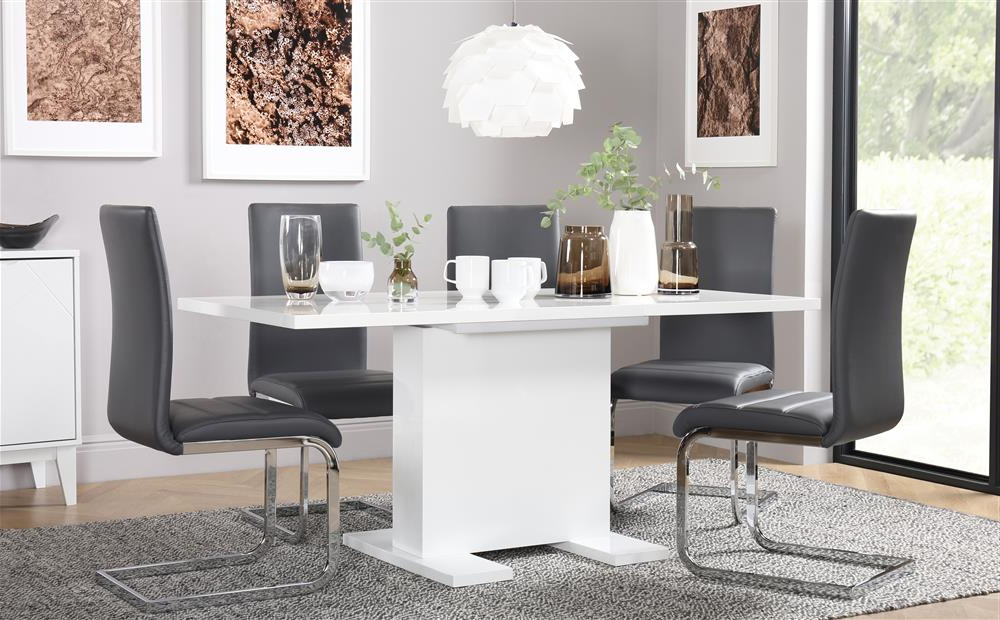 Osaka White High Gloss Extending Dining Table And 6 Chairs Set Intended For Widely Used Dining Tables With Grey Chairs (Gallery 17 of 20)