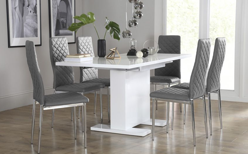 Osaka White High Gloss Extending Dining Table – With 6 Renzo Grey Pertaining To Well Liked White High Gloss Dining Chairs (Gallery 14 of 20)