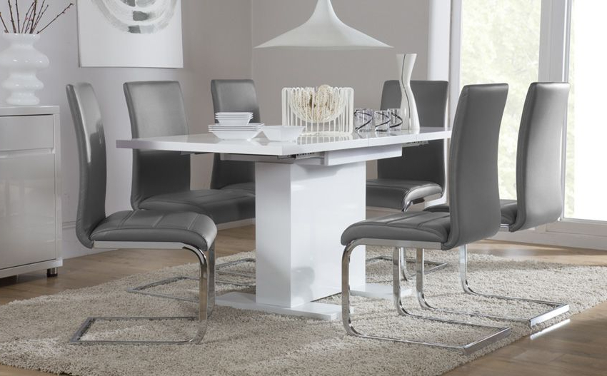 Osaka White High Gloss Extending Dining Table (Gallery 12 of 20)