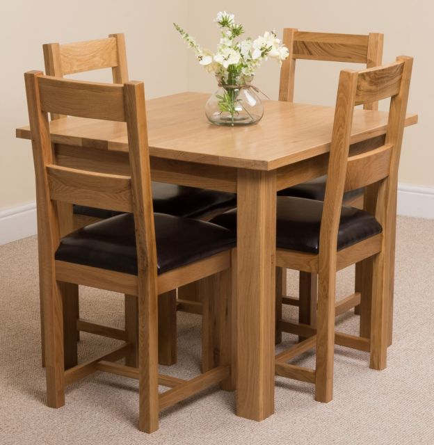 Oslo Solid Oak 90Cm Square Dining Room Kitchen Table & 4 Brown Throughout Most Up To Date Square Oak Dining Tables (Gallery 9 of 20)
