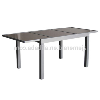 Outdoor Aluminum Patio Extendable Glass Dining Table – Buy Pertaining To Trendy Outdoor Extendable Dining Tables (View 14 of 20)