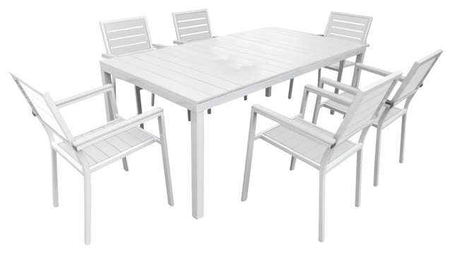 Outdoor Dining Table And Chairs Sets For 2017 Outdoor Patio Furniture Aluminum Resin 7 Piece Dining Table And (View 8 of 20)