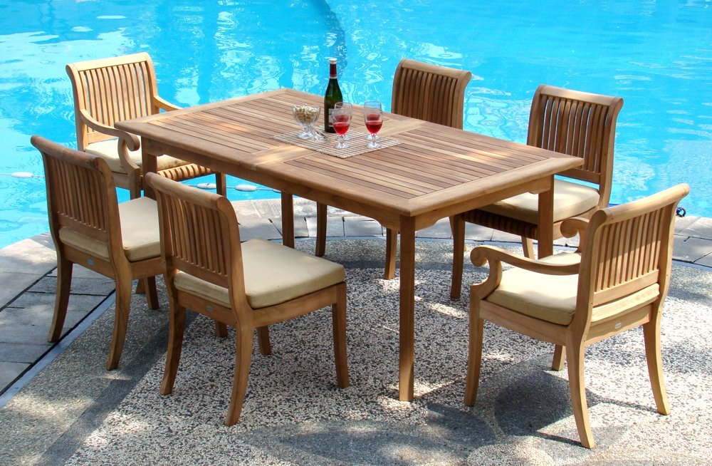 """Outdoor Dining Table And Chairs Sets Inside Famous 7 Piece Grade A Teak Dining Set – 94"""" Double Extension Rectangle (View 11 of 20)"""