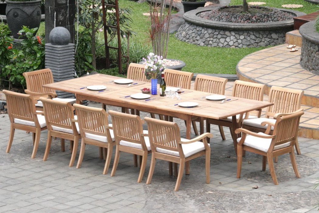 Outdoor Dining Table And Chairs Sets Within Well Liked Extending Teak Patio Table Vs Fixed Length Dining Table – Pros And (View 16 of 20)