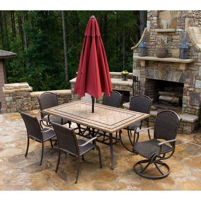 """Outdoor Tortuga Dining Tables Intended For Most Recent Marquesas 7Pc Dining Set W/ 2 Swivel Rockers, 4 Chairs, 70"""" Stone Table (View 8 of 20)"""