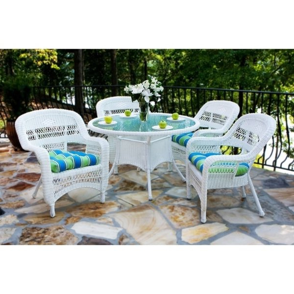 Outdoor Tortuga Dining Tables Intended For Newest Shop Tortuga Outdoor Portside 5Pc Wicker Dining Set W. Cushions (Gallery 16 of 20)