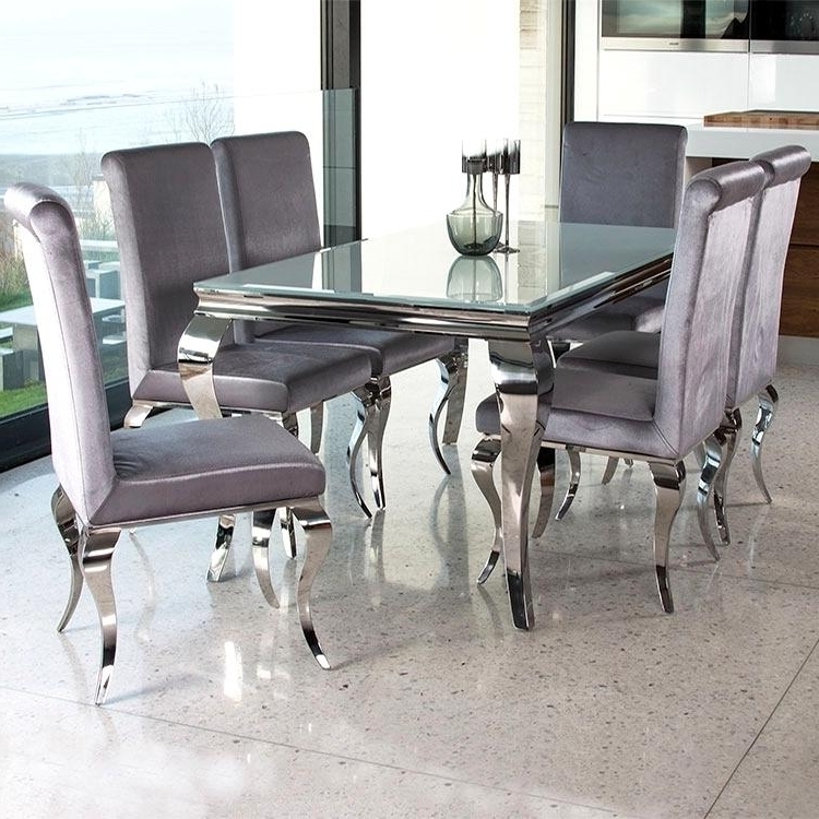 Outstanding Chrome Glass Dining Table Cool Silver Rectangle Modern For Most Up To Date Chrome Glass Dining Tables (View 15 of 20)