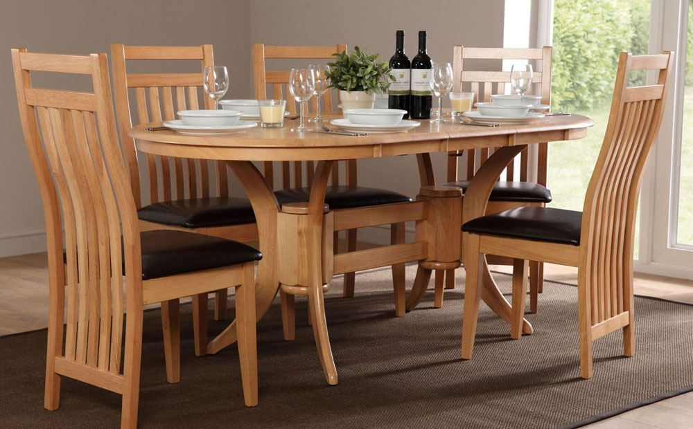 Oval Extending Dining Tables And Chairs Regarding Popular Townhouse Oval Oak Extending Dining Table – With 6 Bali Chairs (Gallery 20 of 20)