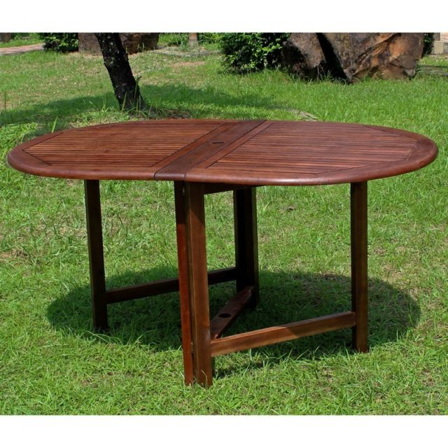 Oval Folding Dining Tables In Favorite International Caravan Highland Acacia Miami Oval Gate Leg Folding (Gallery 11 of 20)