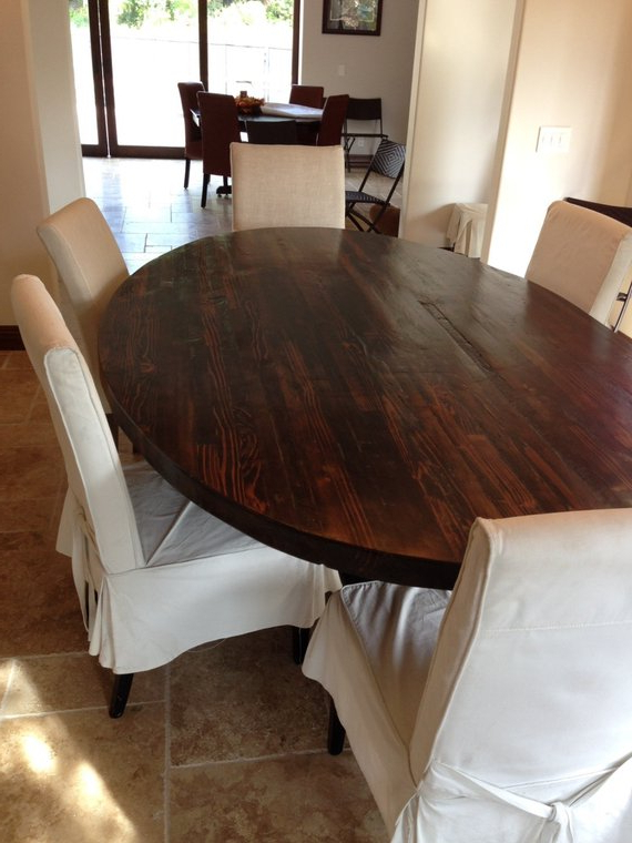 Oval Reclaimed Wood Dining Tables In Fashionable Sale! Butcher Block Strip Oval Wood Dining Table From Reclaimed Wood (View 5 of 20)