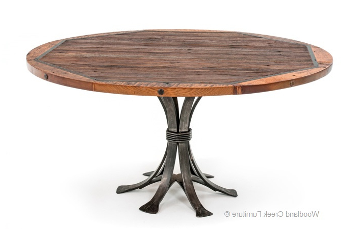 Oval Reclaimed Wood Dining Tables Inside Well Known Round Barn Wood Dining Table, Rustic Table, Round Industrial Table (View 6 of 20)
