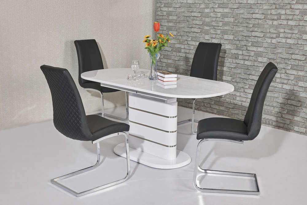Oval White High Gloss Dining Tables In Latest Small Oval White High Gloss Dining Table & 6 Chairs – Homegenies (View 13 of 20)