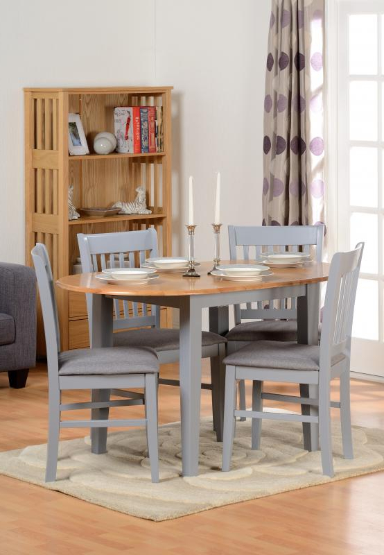 Oxford Extending Dining Table + 4 Chairs In Grey – Pp Homestores With Latest Oak Extending Dining Tables And 4 Chairs (View 17 of 20)