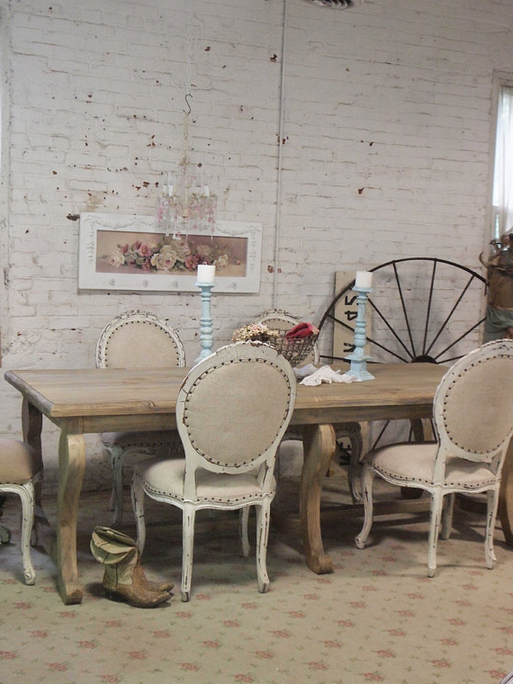 Painted Cottage Chic Shabby French Linen Farm Dining Table Farm Regarding Fashionable French Farmhouse Dining Tables (View 15 of 20)