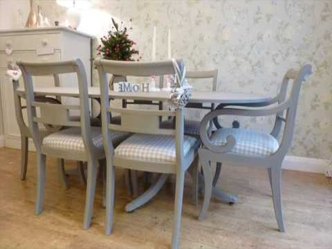 Painted Dining Tables Inside Fashionable Painted Dining Table And Chairs Design Uk – Youtube (Gallery 10 of 20)