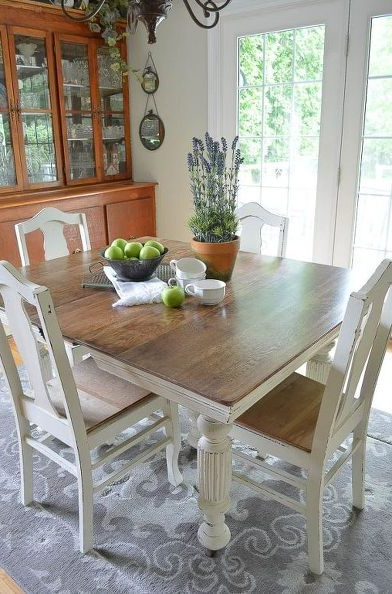 Painted Dining Tables Inside Most Current Chalk Paint Grandma's Antique Dining Table And Chairs In  (View 12 of 20)