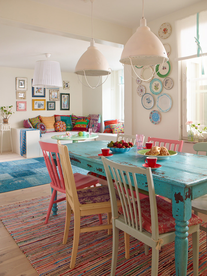 Painted Dining Tables Intended For Current Colorful Painted Dining Table Inspiration (View 13 of 20)