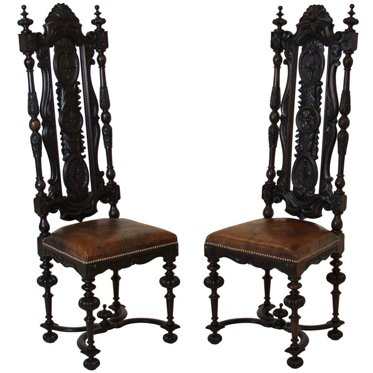 Pair Of Brazilian Solid Rosewood Dom Pedro High Back Chairs Intended For Well Known Dom Side Chairs (View 3 of 20)