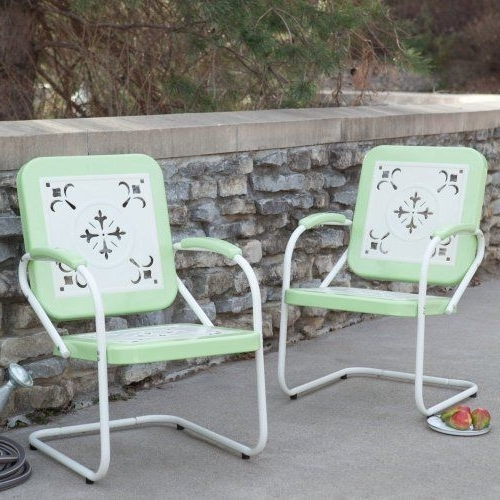 Pair Of Paradise Cove Retro Metal Arm Chairs In Greencoral Coast Throughout Well Known Cora Ii Arm Chairs (View 18 of 20)