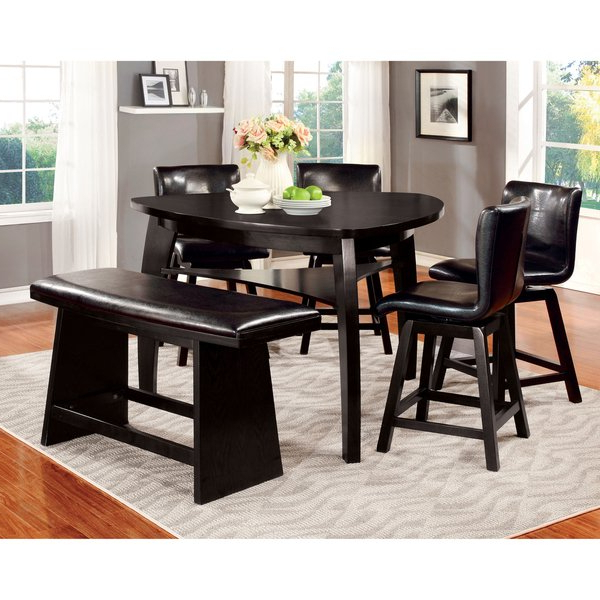 Palazzo Rectangle Dining Tables Within Well Liked Shop Furniture Of America Karille Modern Black Counter Height Dining (View 16 of 20)