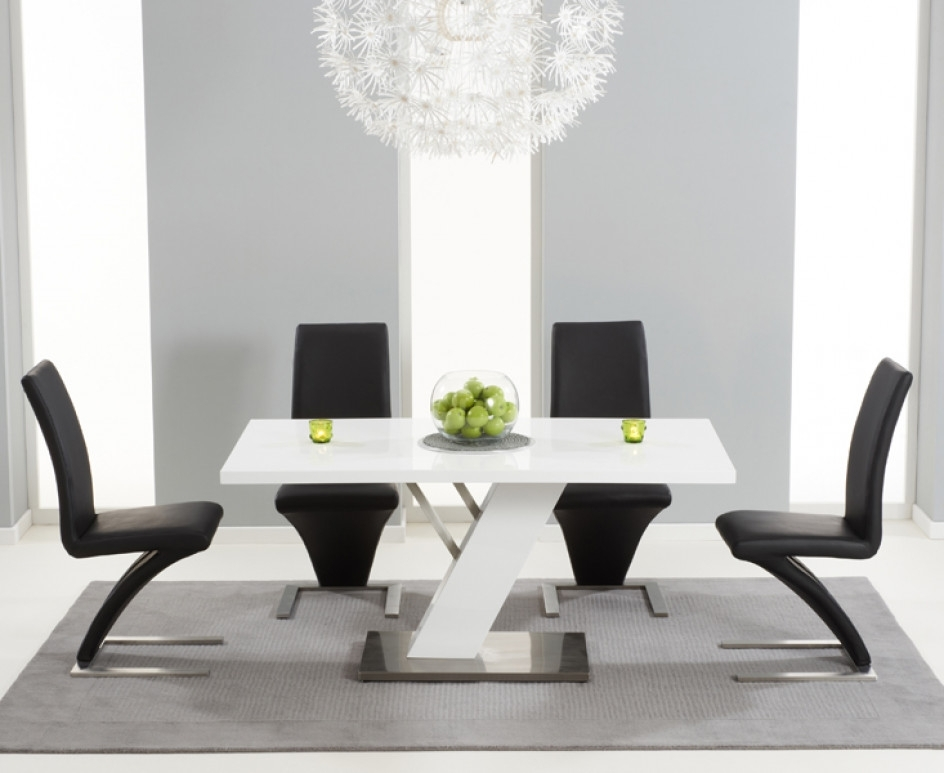 Palma 160cm White High Gloss Dining Table With Hampstead Z Chairs Within Well Known Black Gloss Dining Tables (View 15 of 20)