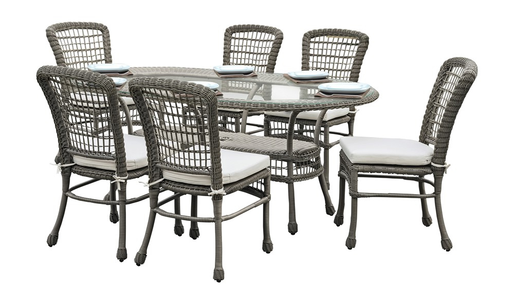 Panama Jack Carolina Beach 7 Piece Wicker Dining Set – Traditional Regarding Best And Newest Gavin 7 Piece Dining Sets With Clint Side Chairs (View 2 of 20)