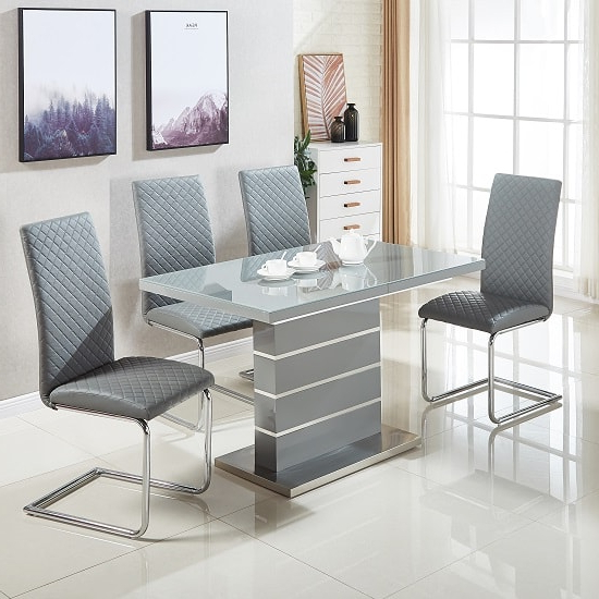Parini Glass Extendable Dining Set In Grey Gloss With 4 For Popular Grey Gloss Dining Tables (View 4 of 20)