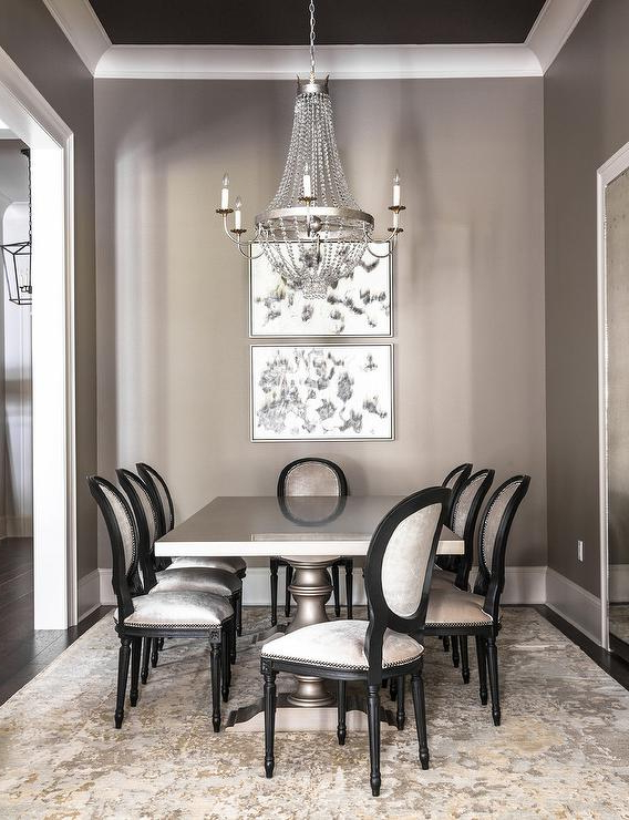 Paris Dining Tables Within Widely Used Gray Dining Room With Gray Dining Table And Gold And Gray Rug (Gallery 10 of 20)