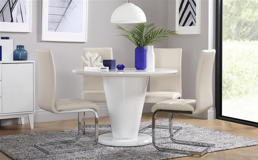 Paris & Perth White High Gloss Round Dining Table And 4 Chairs Set Inside Well Known Perth White Dining Chairs (View 10 of 20)