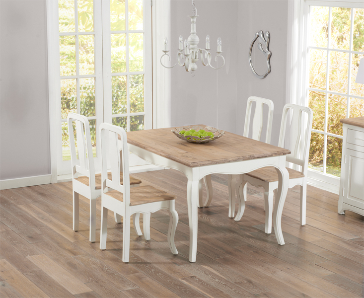 Parisian 130cm Shabby Chic Dining Table With Chairs With Best And Newest Shabby Chic Dining Chairs (View 8 of 20)