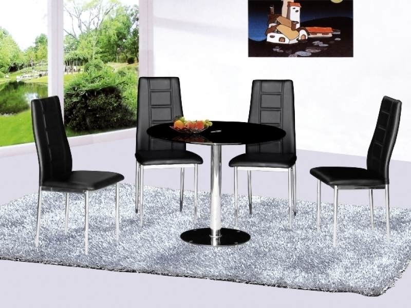 Parma Round Glass Dining Table And 4 Chairs – Homegenies Within Widely Used Round Black Glass Dining Tables And 4 Chairs (View 7 of 20)
