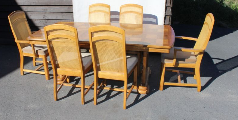 Parquet 6 Piece Dining Sets With Regard To Best And Newest Golden Oak Parquet Extendable Table With 6 Dining Chairs, 1960S For (View 11 of 20)