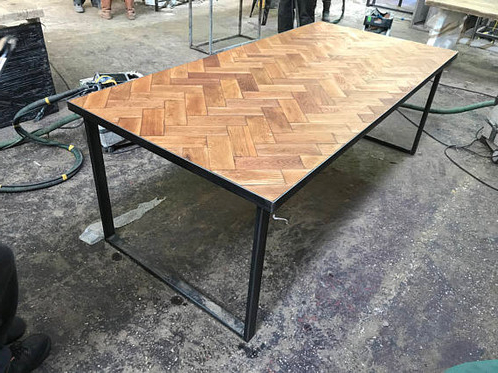 Parquet Dining Tables For Best And Newest Reclaimed Solid Oak Parquet Industrial Chic 6 8 Seat Wood Steel (View 3 of 20)