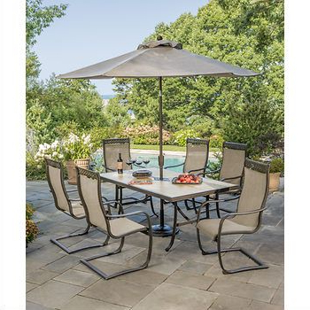 Patio In Preferred Palazzo 7 Piece Dining Sets With Pearson Grey Side Chairs (View 13 of 20)
