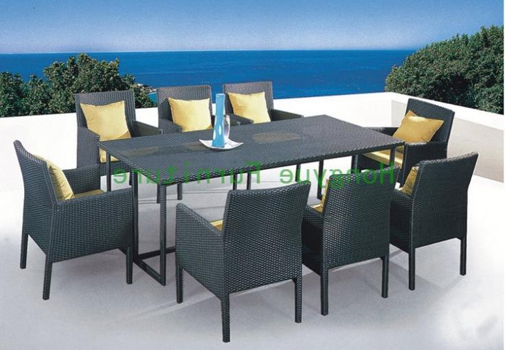 Patio Rattan Dining Set With Cushion And Glass,wicker Dining Table Throughout Current Wicker And Glass Dining Tables (View 9 of 20)