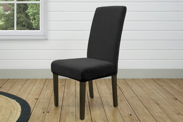 Pearson Grey Slipcovered Side Chairs Throughout Well Known Surefit Pearson Dining Chair Cover – Ebony – Kogan (View 3 of 20)
