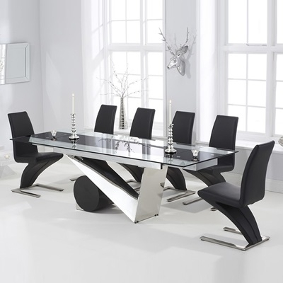 Perona Black Glass Extending Dining Table With 8 Harvey Black Chairs Inside Recent Black Extendable Dining Tables Sets (View 15 of 20)