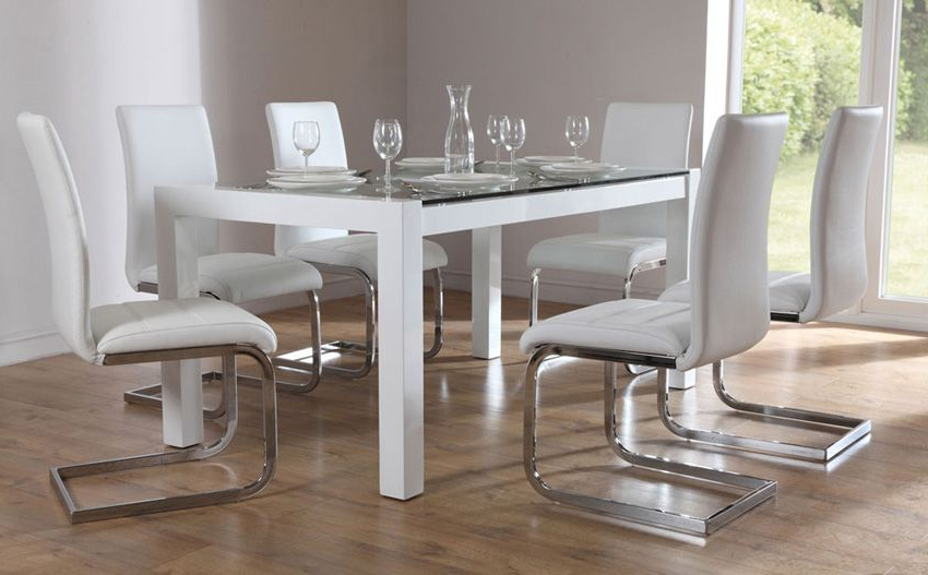 Perth Glass Dining Tables Within Recent Venice White High Gloss And Glass Dining Table (Gallery 1 of 20)