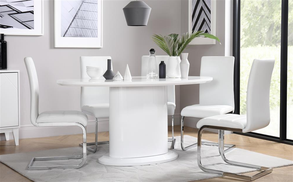 Perth White Dining Chairs Inside Latest Monaco Oval White High Gloss Dining Table With 4 Perth White Chairs (View 11 of 20)