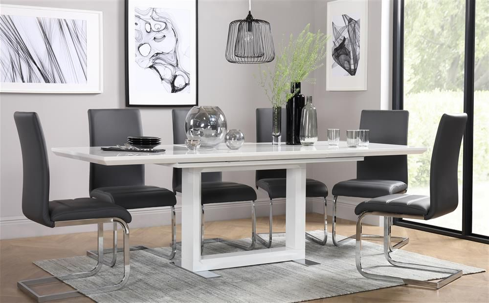 Perth White Dining Chairs Pertaining To Trendy Tokyo White High Gloss Extending Dining Table – With 4 Perth Grey (View 12 of 20)
