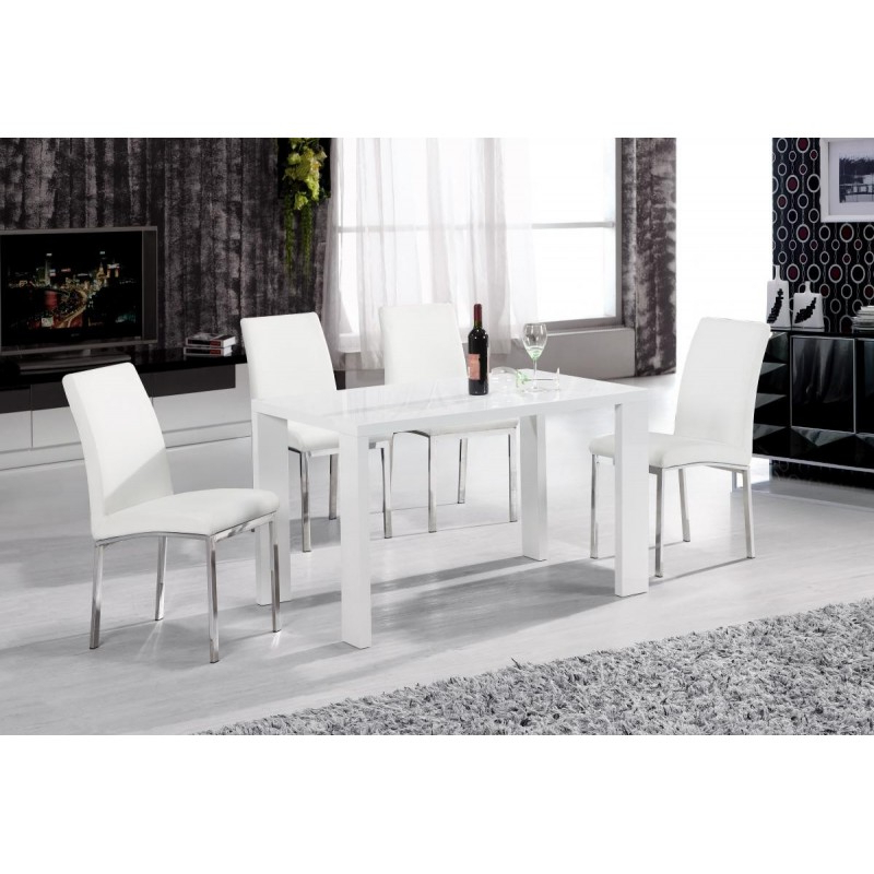 Peru Dining Table White High Gloss 4 Chairs Brixton Beds Pertaining To Most Popular White High Gloss Dining Tables And 4 Chairs (Gallery 5 of 20)