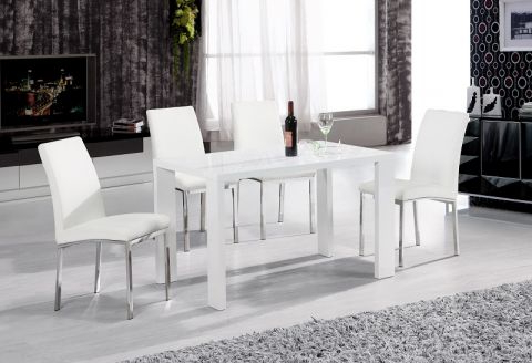 Peru High Gloss White Dining Table With 4 Faux Leather Chairs In For Widely Used High Gloss White Dining Tables And Chairs (View 12 of 20)