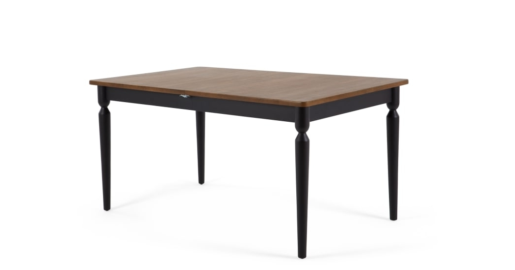 Pherson Double Extending Dining Table, Walnut And Black (View 12 of 20)