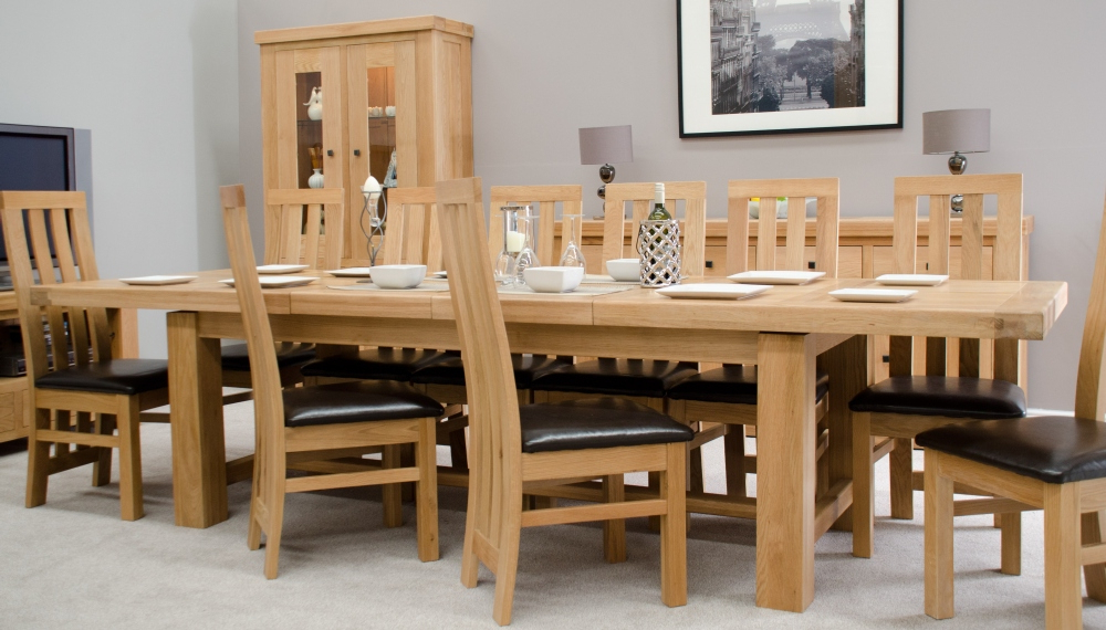 Phoenix Solid Oak Furniture Extra Large Grand Extending Dining Table Within Current Extendable Oak Dining Tables And Chairs (Gallery 9 of 20)